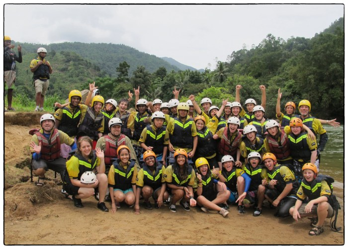OSC's Class of 2015 and a few of their teachers at a brea while rafting down the Kelani River on Day 1