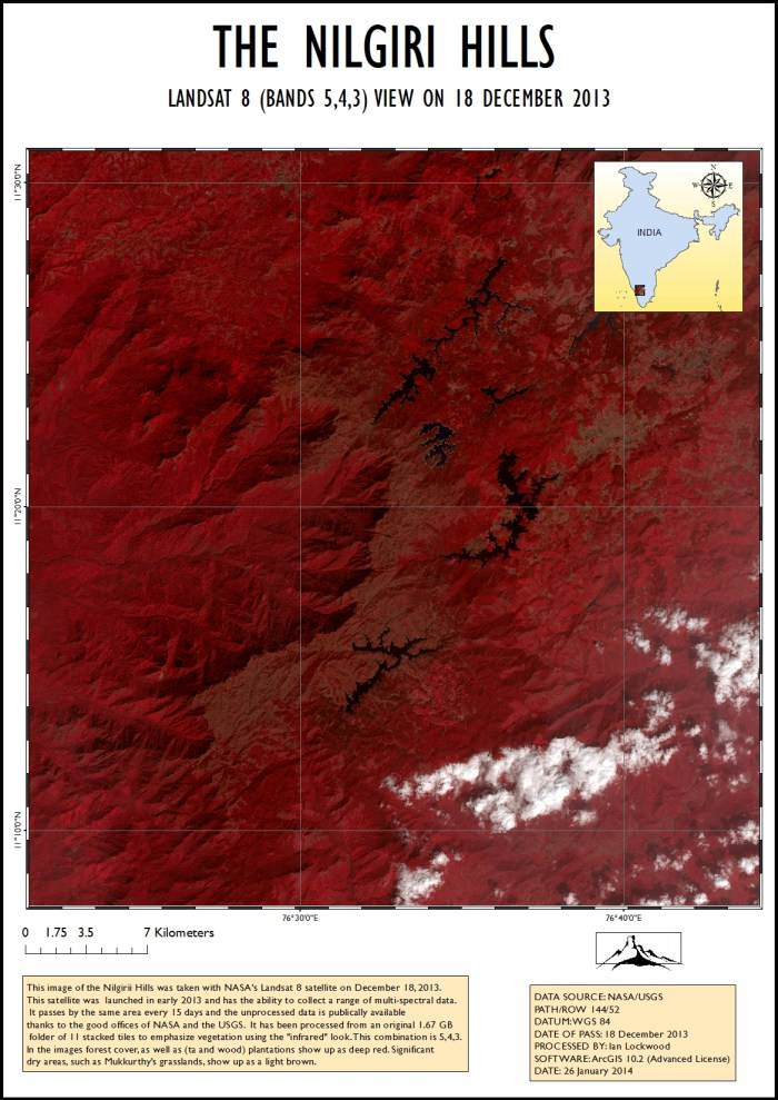 Landsat 8 image of the Nilgiri Hills. (Click for enlarged view)
