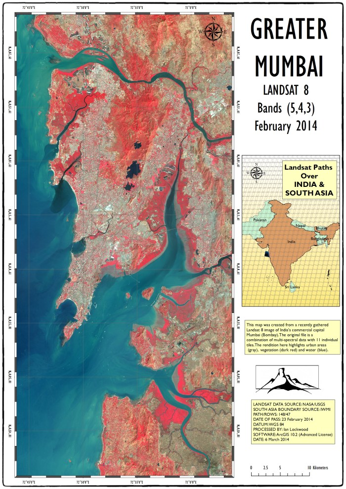 A view of greater Mumbai (Bombay) using an image gathered by the NASA and the USGS Landsat 8 satellite on Sunday February 23rd,  2014. Gray areas are built up urban part of the megalopolis. There are significant areas of green space in Mumbai's hinterlands as revealed by the image. These areas, such as Borovili National Park and several mangrove-laced estuaries show up as red and deep red in this false-color image. The satellite is picking up 11 different multi-spectral layers of data-most of which are not visible to the human eye. The 5,4,3 band combination emphasizes vegetation by assigning the infrared band to the color red while leaving green and blue with their normal bands. Other notable features include Elephanta Island and several ships in the ocean. Click on image to see enlarged A3 version at 150 DP.