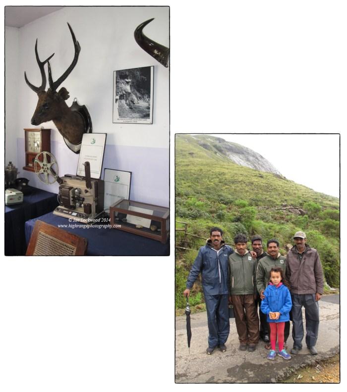Snapshots form a visit to Munnar: The Tea Museum and Amy with Mudhuvan guards at Rajamalai.