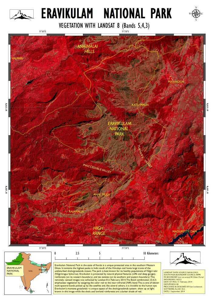 Landsat map of Eravikulam showing significant locations and a very rough park boundary.
