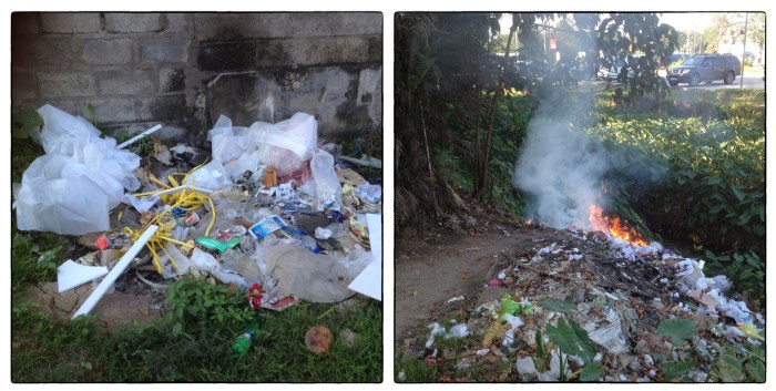 Haphazard solid waste disposal and burning behind a major grocery store chain in the Pelawatte/Thalawathgoda neighborhood. The practice of burning waste, which often includes significant amounts of plastic and other synthetic materials is widespread.