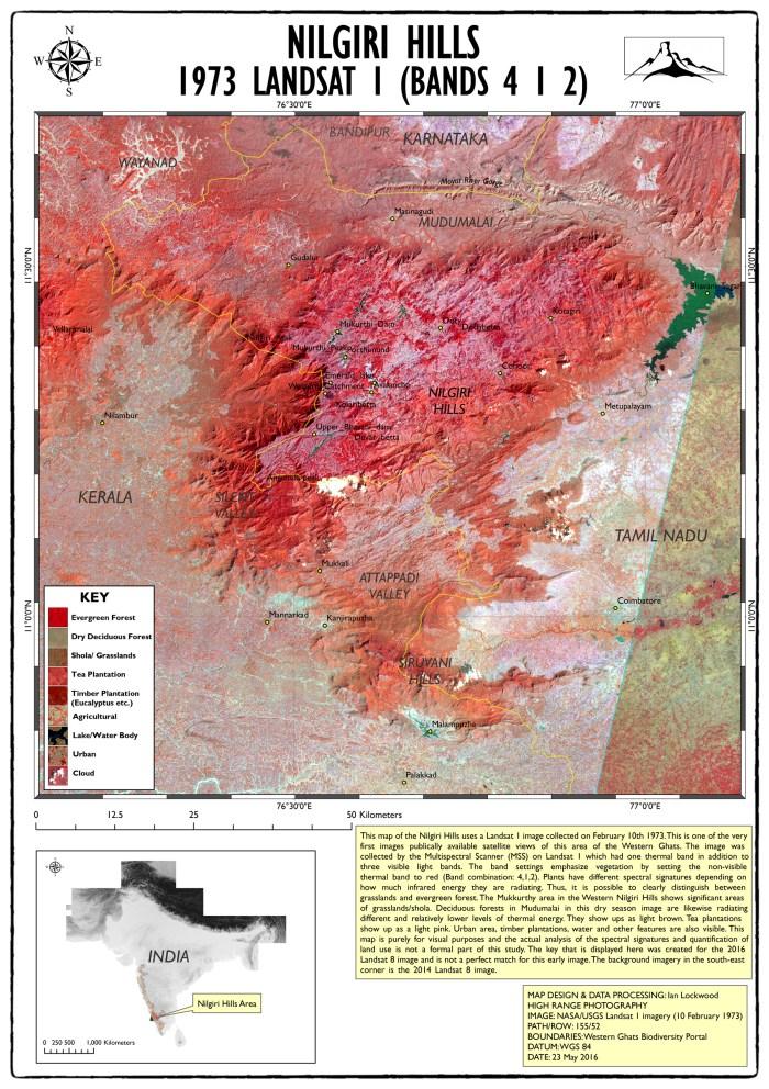 1973 Landsat image of Nilgiri Hills (click twice on image for larger 150 DPI A3 image)