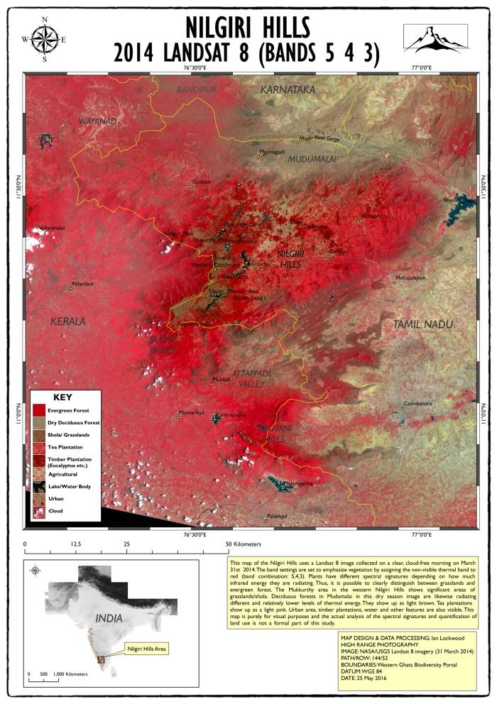 2014 Landsat Nilgiri Hills map (click twice on image for larger 150 DPI A3 image)
