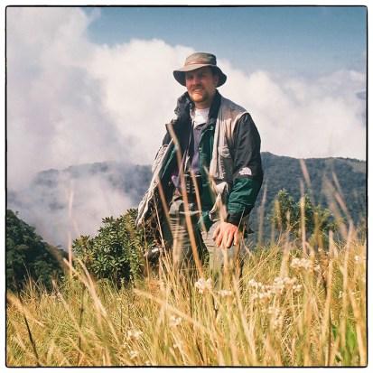 The author on the Pampadum-Vandaravu (Kerala-Tamil Nadu) border in December 1997. Photograph by Merrick & Anna Lockwood.