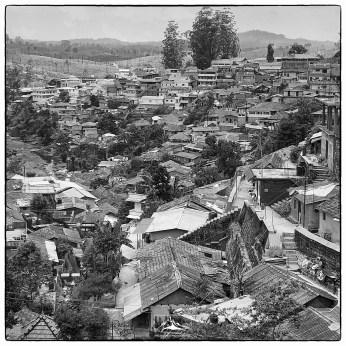 Valparai town, an urban scar on the Valparai plateau.