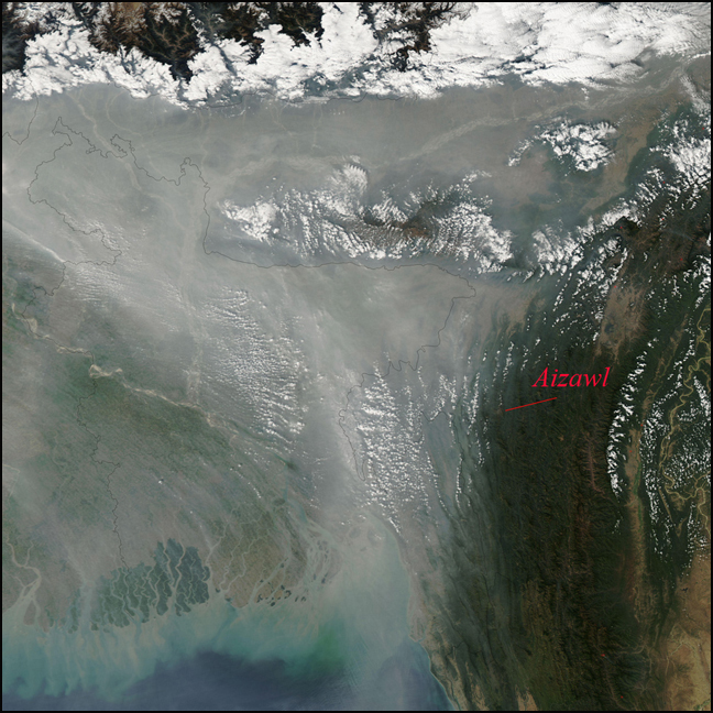 Haze over Bangldesh with Mizoram and the Chittagong Hill Tracts under clear skies. Published by NASA's Earth Observatory from the MODIS sattelite while we were in Aizawl.