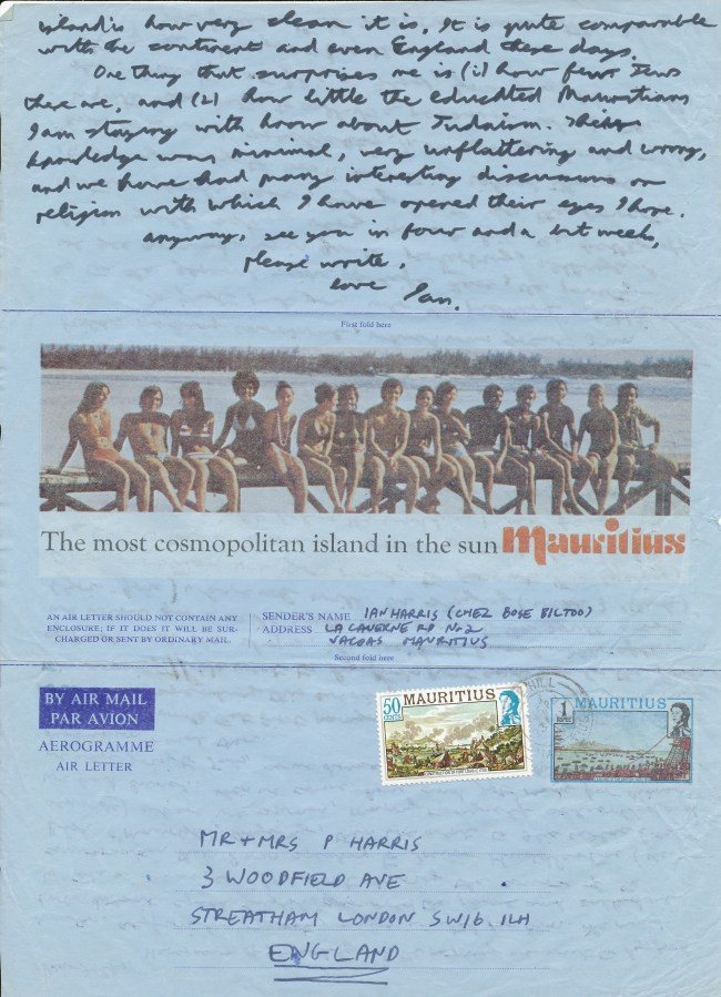 Mauritius Journal Letter Four Side Two 21 July 1979