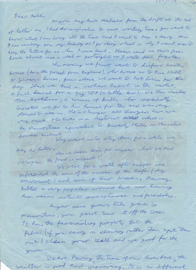 Mauritius Journal Letter Two Side One 17 July 1979