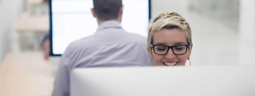 woman at desktop computer