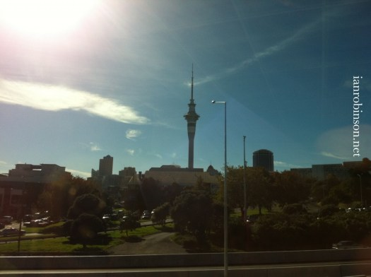 Sky tower from Freemans Bay  Mansons Site
