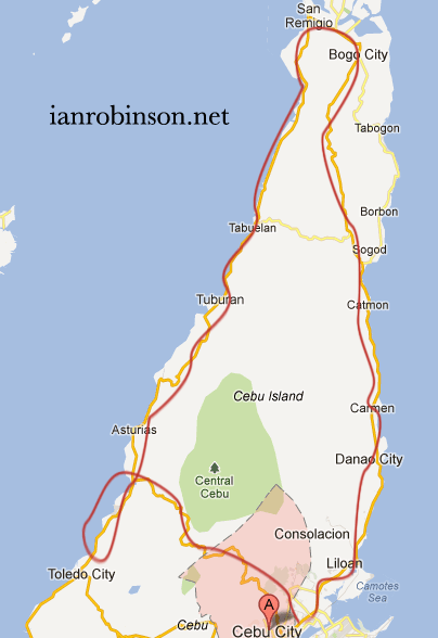 Map of Driving The Northland of Cebu