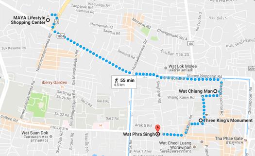 Songkran Chiang Mai 2016 - Walking Map
