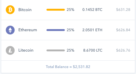 Coinbase account after balancing cryptocurrency hedge fund