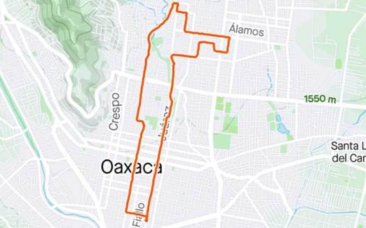 Map of my walk of oaxaca