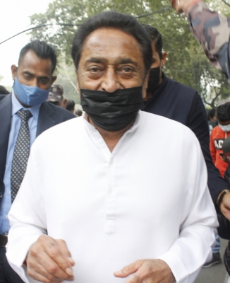 New Delhi: Congress leader Kamal Nath arrives to pay tributes to party veteran Ahmed Patel who passed away at 3.30 am in a Gurugram hospital following Covid-19 complications, in New Delhi on Nov 25, 2020. (Photo: IANS)