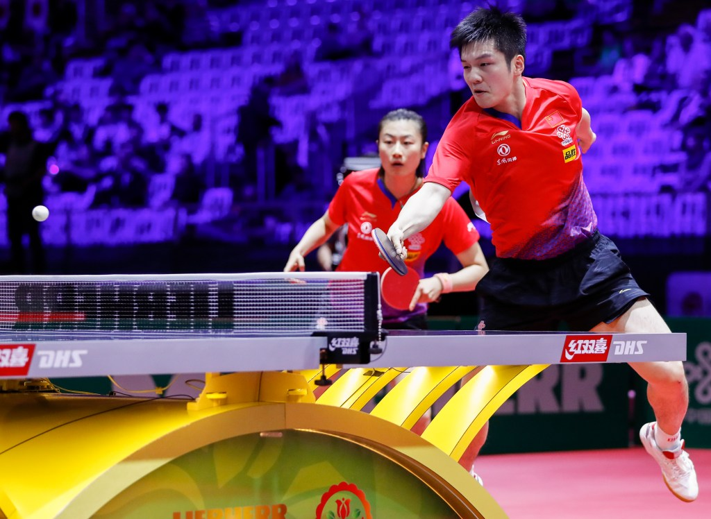 BUDAPEST, April 24, 2019 (Xinhua) -- Fan Zhendong (R) /Ding Ning of China compete during the mixed doubles round of 16 match with Tristan Flore/Laura Gasnier of France at 2019 ITTF World Table Tennis Championships in Budapest, Hungary on April 24, 2019. (Xinhua/Han Yan/IANS)