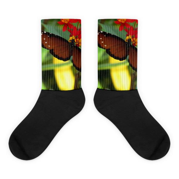 Queen Butterfly black foot socks