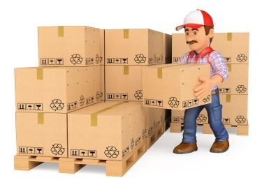 Storekeeper stacking boxes