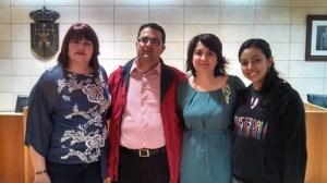 En la foto, de izquierda a derecha: la responsable de la asociación D´Genes, Naca Eulalia Pérez de Tudela; el presidente de FEDER, Juan Carrión; la alcaldesa de Totana, Isabel María Sánchez y, por último, Pali Peña, nuestra directora del área de Psicología EERR.