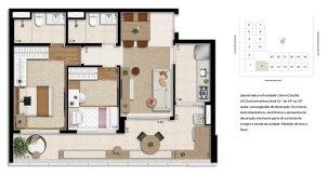 Planta 2 Dormitórios - 69,21m²