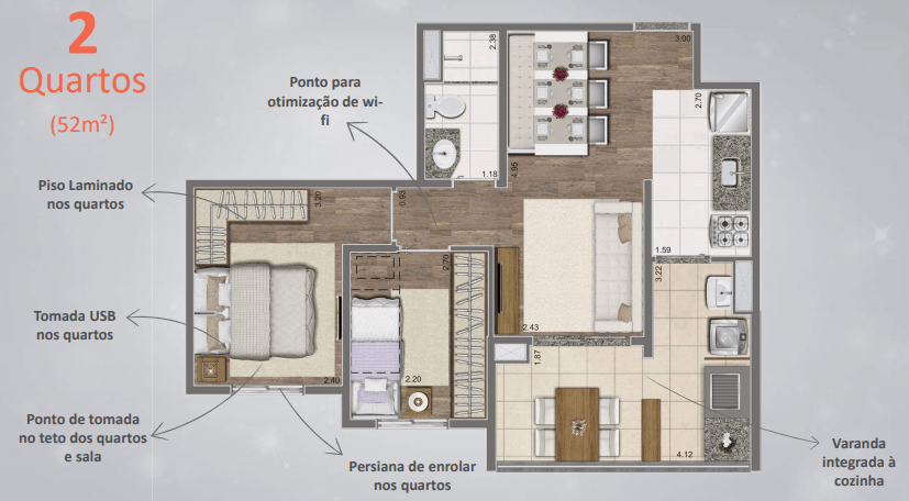 Planta de 52m² com 2 Dormitórios - Detalhes