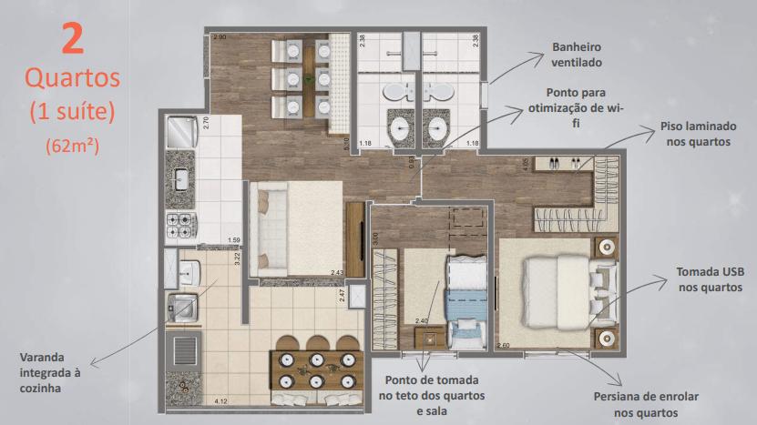 Planta de 62m² com 2 Dormitórios - Detalhes