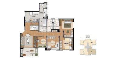 Planta de 108m² com 4 Dormitórios
