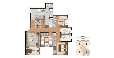 Planta de 91m² com 3 Dormitórios