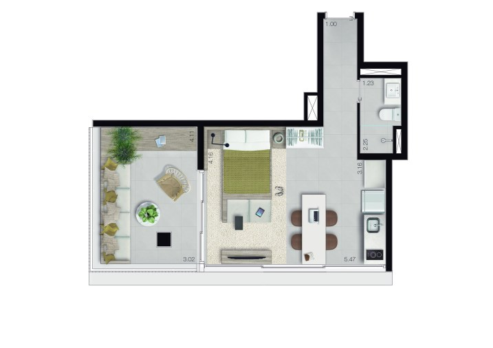 STUDIO • TIPOLOGIA H • 46,78M²