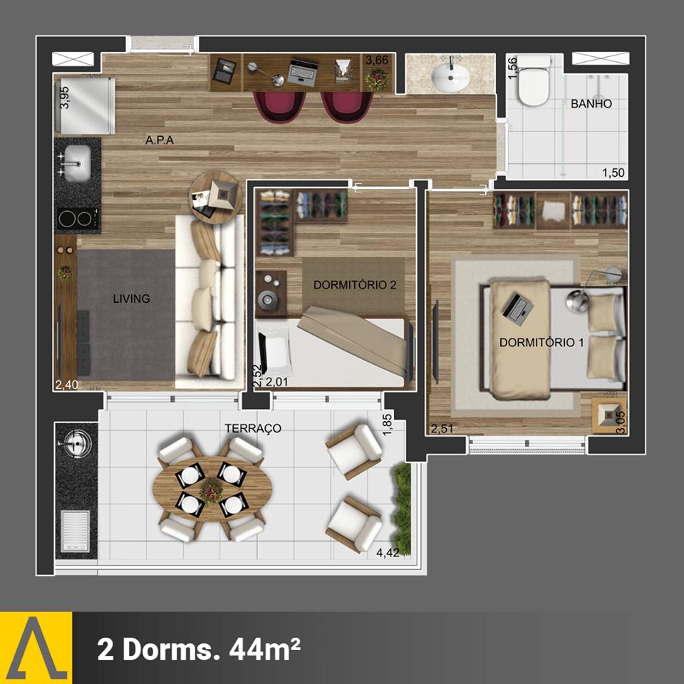 Walk SP - Planta 2 Dormitórios de 44m²