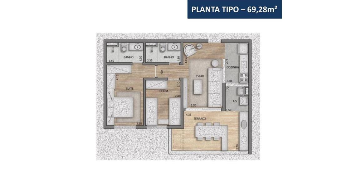 Planta de 69m² - Conselheiro Carrão