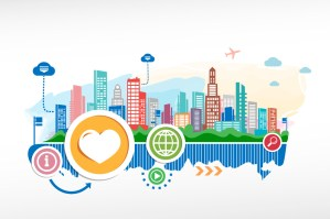 colorful graphic with cities and heart and glob