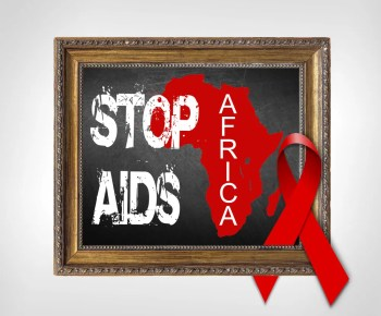 pictur frame with words stop aids africa, red ribbon, outline of africa