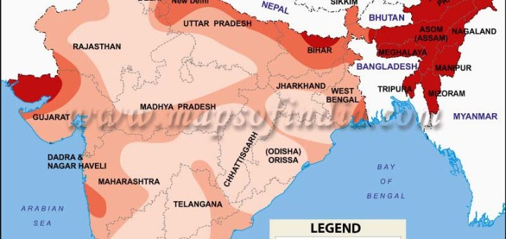 Map of Sesmic Zones of India