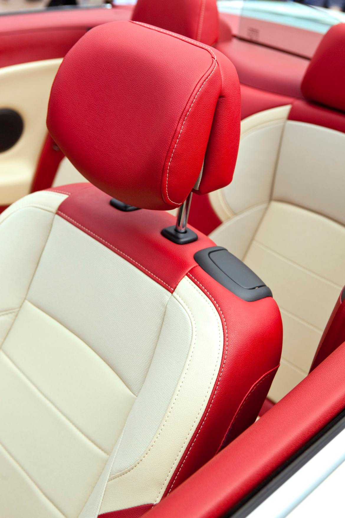 Leather seats in a car.