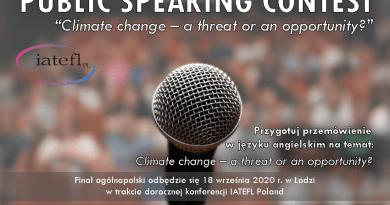 """Konkurs krasomówczy """"Public Speaking Contest"""" 2020"""