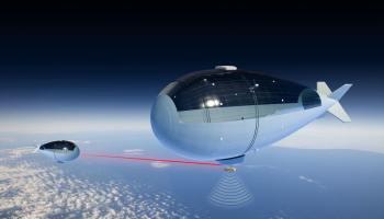 Situés à seulement une vingtaine de kilomètres au-dessus de la Terre, les dirigeables stratosphériques de Thales Alenia Space, les futurs Stratobus, pourraient remplir certaines missions actuellement confiées à des satellites mais pour un coût bien inférieur. © Thales Alenia Space