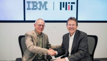 MIT President, Dr. L Rafael Reif (on left) and IBM Senior Vice President, Cognitive Solutions and Research, Dr. John Kelly III (on right),