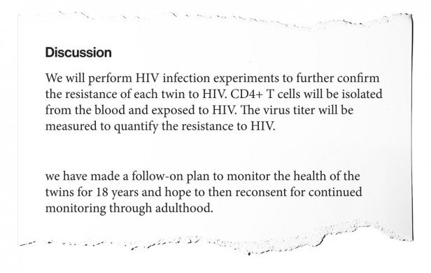 """Birth of Twins After Genome Editing for HIV Resistance,"" by He Jiankui"