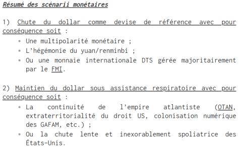 scénarii monétaiires