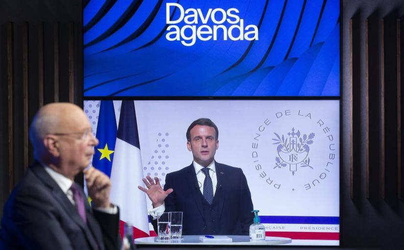 Davos : intervention du Président Emmanuel Macron avec Klaus Schwab
