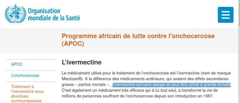l'ivermectine est sans danger et peut être utilisé à grande échelle.
