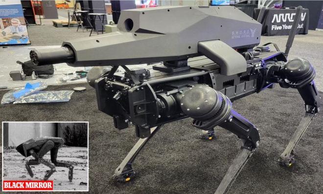 robots chiens avec fusils d'assaut