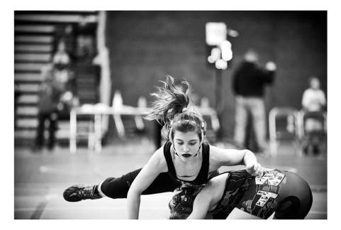 Tateum Park of Davenport competes in the Iowa/USA Wrestling's first Girls Folkstyle Championships.