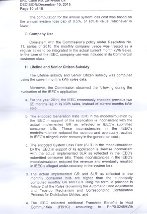 OVER RECOVERY IBAAN ELECTRIC 31.3 MILLION PESOS PAGE 10