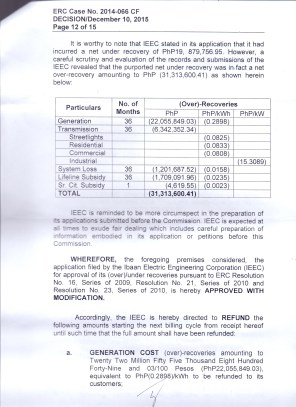 OVER RECOVERY IBAAN ELECTRIC 31.3 MILLION PESOS PAGE 12