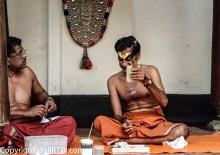 Kathakali makeup preparation