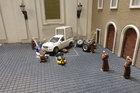 The pope mobile needs fixing