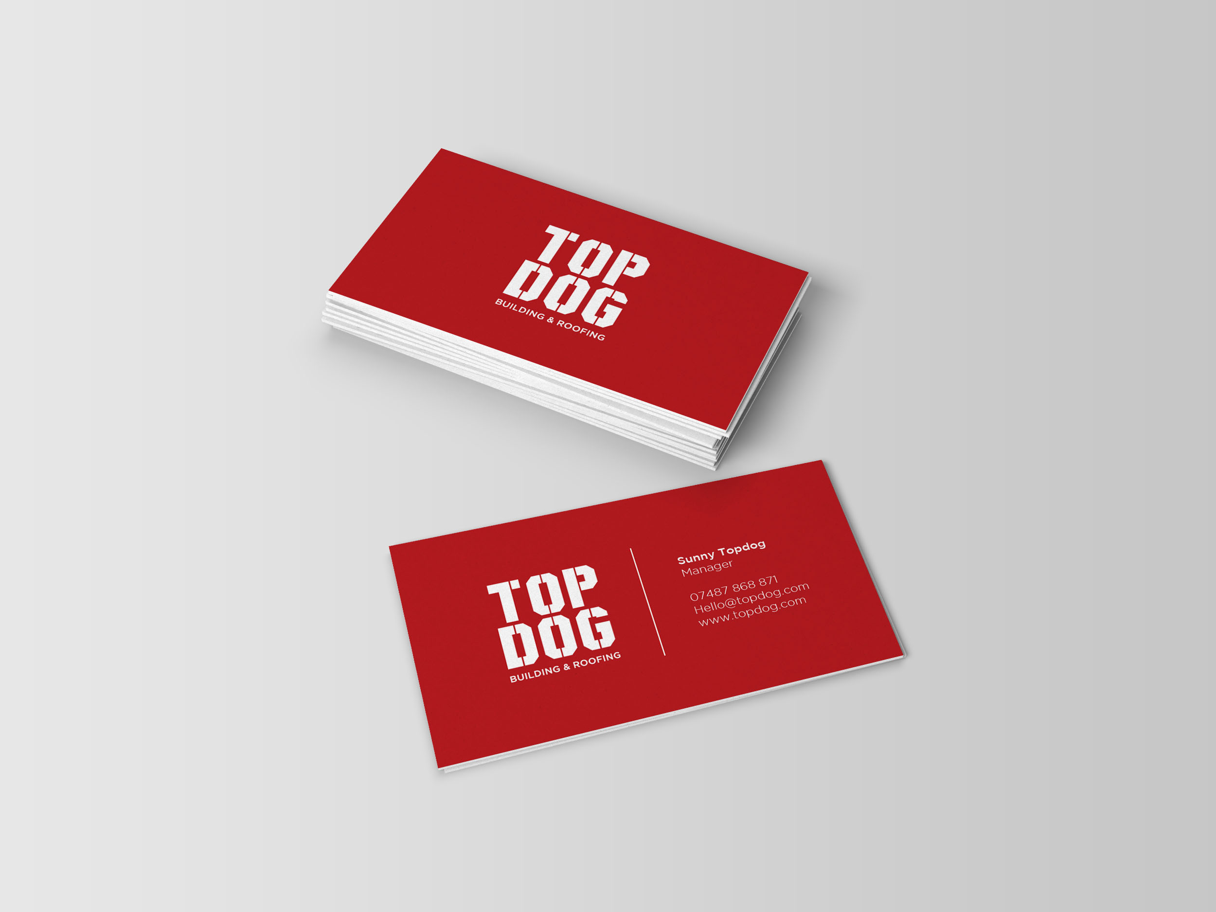 Business card design for building and construction service top dog
